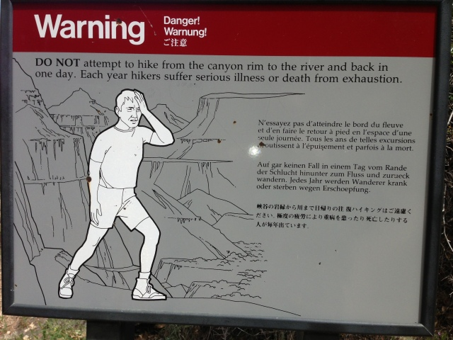 Grand Canyon Warning Sign -